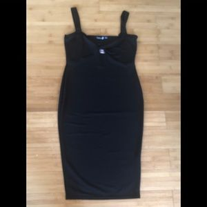 Boohoo | Black Tie Front Midi Dress Sz UK14/US 10